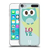 Head Case Designs Blau Liebe Kawaii Eule Soft Gel Hülle für Apple iPod Touch 6G 6th Gen