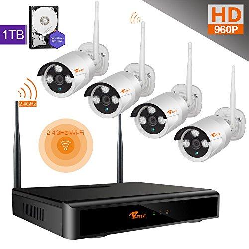 CORSEE Plug&Play 8 Kanal 960P NVR + 4x960P WIRELESS SYSTEM Funk Überwachungssystem HD 1.3MP WLAN Outdoor Netzwerk Außen IP Überwachungskamera, Kabellos, Handy-View, Bewegungsmelder 1TB Lila Festplatte