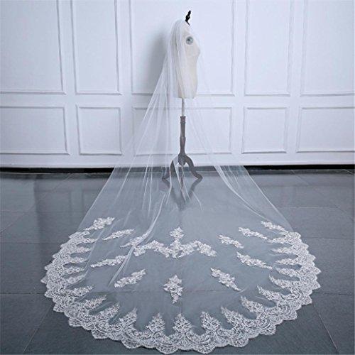 Vestito da cerimonia nuziale 3m del merletto della biancheria del merletto bianco lungo del merletto del vestito da cerimonia nuziale della coda lunga