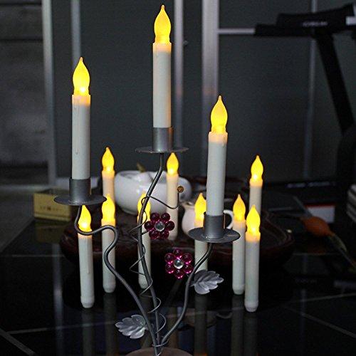 Hansemay senza fiamma set di 12 led cono candele, giallo luce tremolante lampadine a batteria candele pilastro led per la decorazione domestica compleanno, chiese, partiti e natale, batterie non incluse (6.5