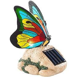 Lunartec Solar Deko: Solar-LED-Schmetterling mit Echtglas-Mosaik-Flügeln (Solar-Dekos)