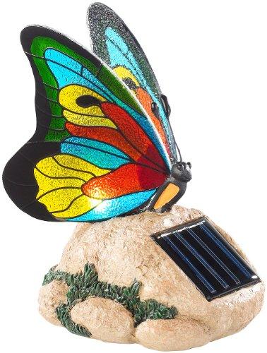 Lunartec Gartendekoration: Solar-LED-Schmetterling mit Echtglas-Mosaik-Flügeln (Solarleuchten mit Schmetterling)