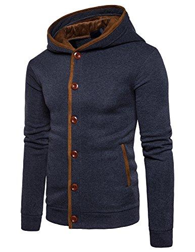 Boom Fashion Uomo Felpa Giacche Fodera Cappotti Con Cappuccio Caldo Cappotto Giacche Tops Grigio scuro