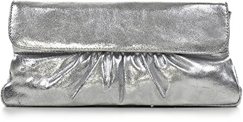 CNTMP, Borsa da Donna, Clutch, Borsa a Mano, Pochette, Borsetta da Sera, Effetto Metallico, Con Tasca in Pelle, 31x15x2,5cm (L x H x P) argento