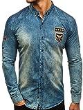 BOLF Jeanshemd Freizeit Jeans Hemd Herrenhemd Langarm Madmext 0992 Dunkelbau-Grau XL [2B2]