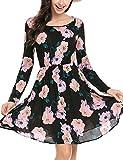 Beyove Damen Blumenkleid Langarm Strandkleid Partykleid Freitzeitkleid Sommerkleid Blumenmuster A-Linie Knielang