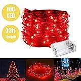 Lumière de fée avec 100 LEDs, fil de cuivre imperméable lumières étoilées par batterie à piles pour chambre à coucher intérieure et patio extérieur maison de noce de jardin (33ft / 10M, rouge)