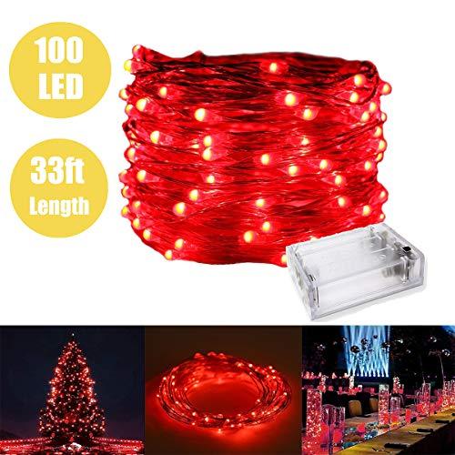 Fata luce con 100 led, luci di corda stagnante filo di rame impermeabile a batteria per camera da letto interna e patio esterno home garden wedding party (33ft / 10m, rosso)