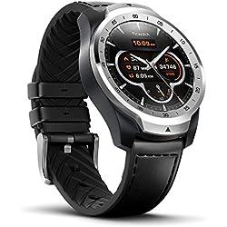 TicWatch Pro Smartwatch Intelligente Armbanduhr mit Herzfrequenzsensor (Android Wear, GPS, Wear OS by Google, NFC) Sportuhr Kompatibel mit Android und ios Mehrschichtigem Display und Lederband, Silver TicWatch