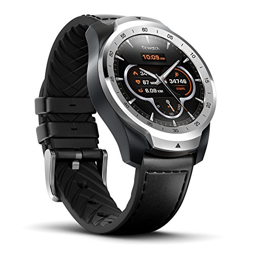 Ticwatch Pro Smartwatch Wrist Watch with Heart Rate Sensor (Android Wear, GPS, Wear OS by Google, NFC) Sports Watch Compatible with Android and ios Multilayer Display and Leather Strap, Silver