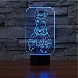 Nouveauté Terrier Écossais Forme Lampe De Table 3D Led Coloré Visuel Chien Luminaire Sommeil Veilleuse Créatif Décor De Chevet Cadeaux