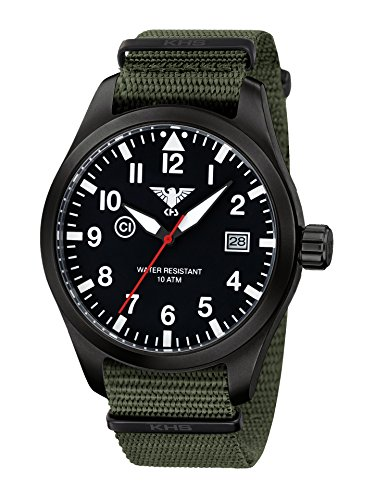 KHS Mens Watch Airleader Black Steel KHS.AIRBS.NO