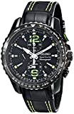 Sportura Stainless Steel Case Alarm Chronograph Black Dial Leather Strap