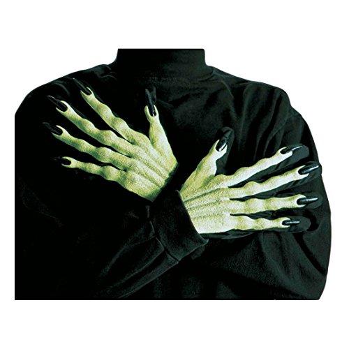 Guantes bruja 3D verde manos uñas largas vampiro