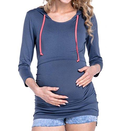 OSYARD Damen Frauen Rundhals Kapuzenpullover, Sommer Herbst Mutterschaft Pflege Tops,Langarm Solide Kleidung für Schwangere Kapuzen Bluse
