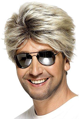 80er Jahre Herren kurze und glatte Perücke, Street Perücke, Blond, (Nerd Kostüme Kerl)
