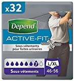 Depend Active Fit Sous-Vêtements Homme (7 Gouttes) Taille L/XL pour Fuites Urinaires et Incontinence x32 (4 Paquets de 8 Sous-Vêtements)