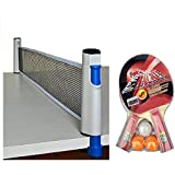 Hi-Quality And Innovative Combo Retractable Portable Table Tennis Net Set With Clamps Adjustable Length To Play Indoor And Outdoor -fits Most Tables , With Table Tennis Recquet Set Of 2 Bats 3 Balls