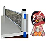 #10: Hi-Quality and Innovative combo Retractable portable Table Tennis Net set with clamps Adjustable Length to play indoor and outdoor -fits most tables , with table tennis recquet set of 2 bats 3 balls