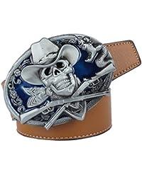 acfbd13239c9 MagiDeal Vintage Ceintures en Cuir PU avec Ornement Boucle de Crâne et  Serpent Leather Belt Pour Western Cowboy…