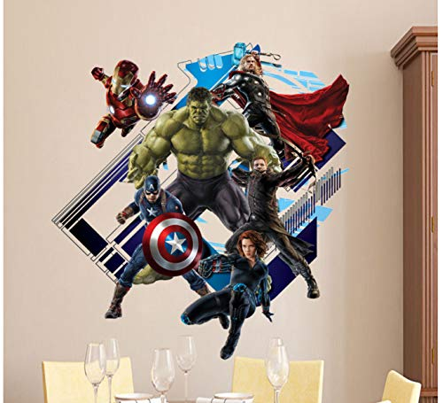 Super Peel (hfwh Wandaufkleber Super Hero Avengers Hulk Peel Kinder Zimmer Cartoon Aufkleber Home Decor Wallpaper Poster 60x60cm)