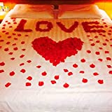 MFEIR® Silk künstliche Rosenblätter Blumen Hochzeit Favor Brautparty Aisle Confetti Vase Dekor 1000 PC,Rot
