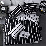 Morbuy Bettwäsche Bettbezug Set, 3 Teilig Bettgarnitur Bettwäsche - Set Gemütlich 100% Mikrofaser mit Reißverschluss 1 Bettbezug + 2 Kissenbezug (135x200CM, Schwarze und weiße vertikale Balken)