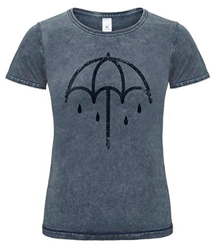 Damen T-Shirt Denim-Effekt Bring Me The Horizon Umbrella Cod. Grpr0049 - Frauen Denim Plug-in T-Shirt mit Rock Vorderdruck, X-Large, Raw Blue