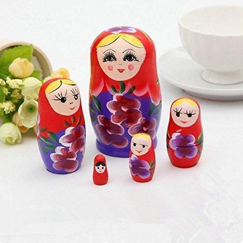 euheit Russische Nesting Holz Matryoshka Puppe Set Handgemalte Decor Russische Nesting Dolls Baby Spielzeug Mädchen Puppe ()