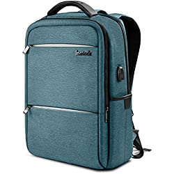 Inateck Zaino per laptop da 15.6 pollici anti borseggio anti graffio con presa ricarica USB e anti-spruzzo d'acqua con la cover anti-pioggia- blu