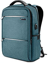 Inateck Laptop Backpack with USB Charging Port, Anti-Theft School Bag Business Travel Backpack Fits Up to 15.6 Inch Laptops, Rucksack with Waterproof Rain Cover and Luggage Belt