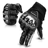 Guantes Moto Tranpirable Entretiempo Guantes con Protección Guantes Moto Verano Anti-Deslizante Pantalla Táctil Proteccion Gloves Racing Moto (Negro, XL)
