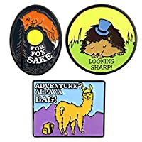 Flowfold Enamel Pin - Adventure Pun Pins - For Jackets and Bags - Lapel Pin - Set of 3