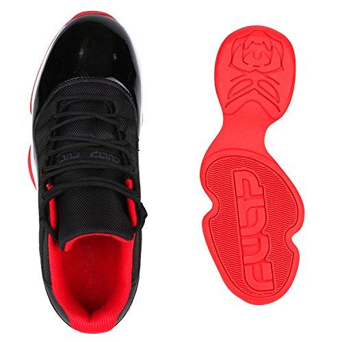 Herren Laufschuhe Sneakers Runners Sportschuhe Lack Schwarz Rot Autol