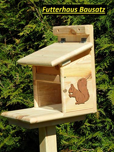 Arbrikadrex Eichhörnchenfutterhaus- Eichhörnchen-Haus Kobel Eichhörnchenfutter Wahlweise:imprägniert/Natur/Wunschgravur/mit oder ohne Ständer (Futterstation Bausatz)