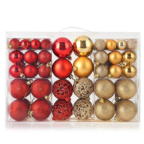 himaly 100 Pezzi Palla di Natale Ornamenti Palla di Decorazione Natalizie Albero e Matrimonio Rosso e Oro (2.8、3.8、5.8cm) (1)