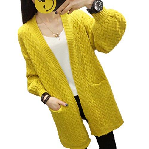 Damen Long Strickjacke Casual Batwing Lange Ärmel Kabel Chunky Open Cardigan V-Ausschnitt Plus Size...