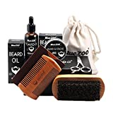 MagiDeal 7 Teiliges Bartpflege Set Bestehend aus Bartbalsam, Bartwachs, Bartöl, Bartkamm, Bartbürste und Barttasche, Ideal Geschenkset für Männer