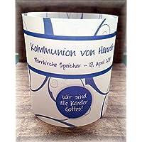 4er Set Tischlicht Tischlichter Kommunion Konfirmation Jugendweihe Taufe Ornamente Tischdeko personalisierbar blau