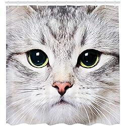 ABAKUHAUS Gato Cortina de Baño, Retrato en Primer Plano de Gatito para Amantes de Las Mascotas Felino Animal Doméstico, Material Resistente al Agua Durable Estampa Digital, 175 X 200 cm
