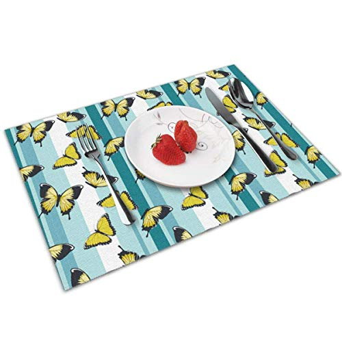 Tischsets Set of 4,Yellow Butterflies On Blue Stripes Heat-Resistant Tischsets Washable Table Mats for Kitchen Dining Table Blue Butterfly Mop