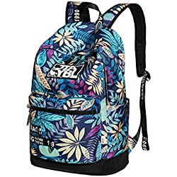 Mujer Mochilas Escolares Juveniles Casual Backpack Hojas Impresa Mochila Azul