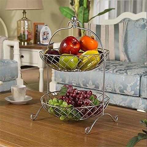 Ghq-double Couche de fruits Bol de fruits/deux/Candy Plat à panier/Multi Continental fer Creative Maison Salon Décoration Décoration