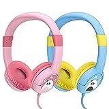 【2 Stück: Blau & Rosa】 Mpow Kopfhörer Kinder, Kopfhörer für Kinder mit 85dB Lautstärke Begrenzung Gehörschutz & Musik-Sharing-Funktion, Kinderfreundliche sichere Lebensmittelqualität