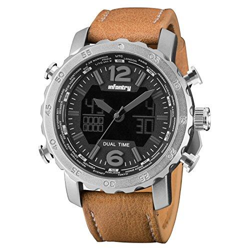 INFANTRY Herren Analog-Digital Armbanduhr Alarm Stoppuhr Chronograph Outdoor Silber Edelstahl Echtleder Armband