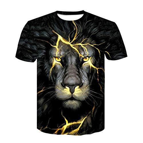 FENG löwen - Digitaldruck, kurzärmeliges t - Shirt haben europäische und amerikanische Street Style männer um den Hals Hemd,XXL -