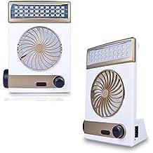 LIM Linterna LED/ventilador, funciona con energía solar, recargable, para acampada