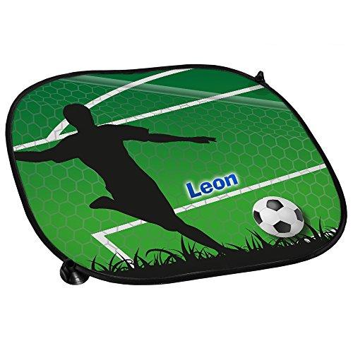 Auto-Sonnenschutz mit Namen Leon und schönem Fußball-Motiv für Jungs - Auto-Blendschutz - Sonnenblende - Sichtschutz