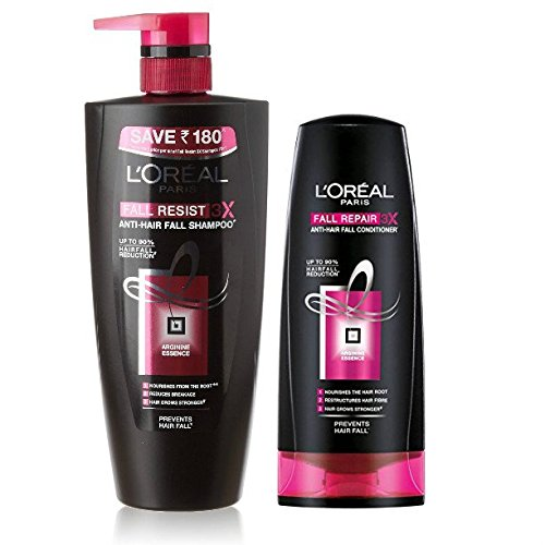 L'Oreal Fall Repair 3X Anti-Hair Fall Shampoo, 640ml, L'Oreal Paris Fall RESIST 3X Conditioner, 175ml (Set Of 2)