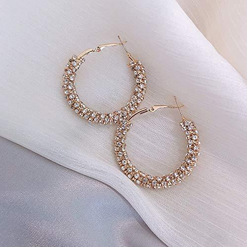 QWE Rock Cool Girl 925 Silber Nadel voller Diamanten übertrieben großen Ohrring Fashion Blogger auffällige Ohrringe Net Red Ohrringe Eardrop kreativ und raffiniert,Metallic Volle Rock-metallic-rock